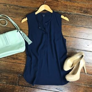 Madewell Sleeveless Navy Tunic Top Size S